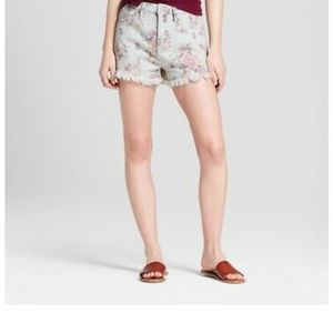Mossimo Women's Floral Print High-Rise Jean Shorts